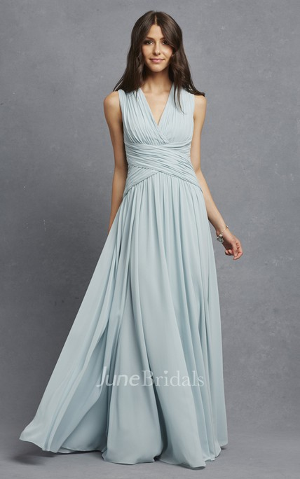 Sleeveless Chiffon V-Neck Dress With Crisscross Ruching