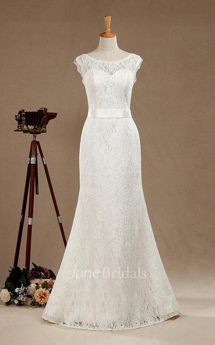 Scoop Neck Cap Sleeve Lace Mermaid Wedding Dress With Satin Sash