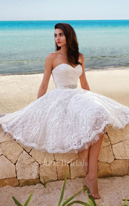 2a1b2076a67 Princess Style Sweety Midi Wedding Dress With Sash - June Bridals