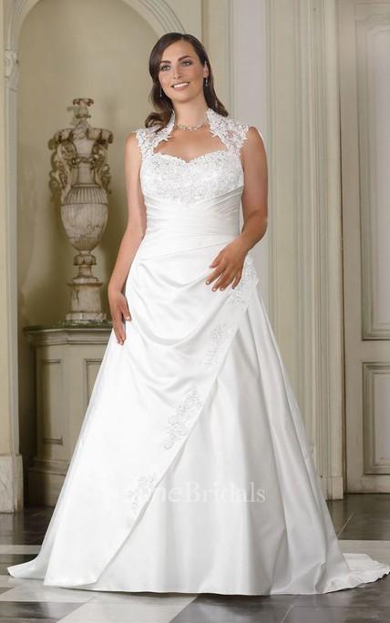 e61232aa18744 A-Line Long Queen Anne Sleeveless Satin Brush Train Draping Dress - June  Bridals