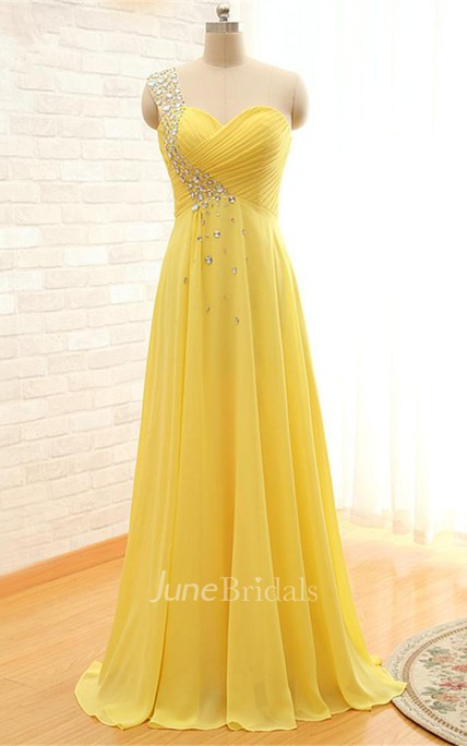 Elegant One-shoulder Sleeveless Chiffon Prom Dress With Crystals