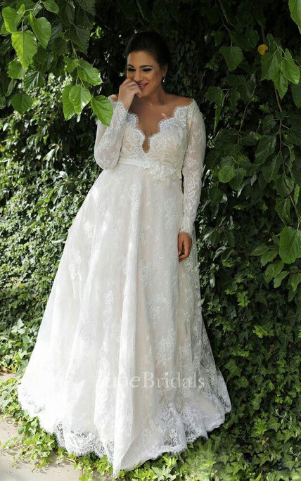 6cc1af1d75cd Sexy Sheer V Neck Long Sleeves Lace Floor Length Garden Plus Size Wedding  Dress - June Bridals