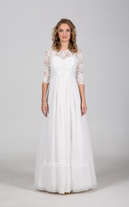 c052390737245 Chiffon Lace Weddig Dress With Illusion Corset Back - June Bridals