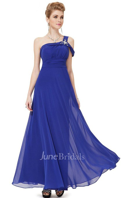 One-shoulder A-line Chiffon Dress With Beadings