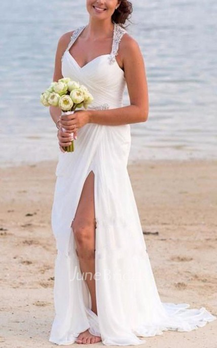 Vintage Beach V Neck Beaded Backless Front Split Sheath Bridal Gown