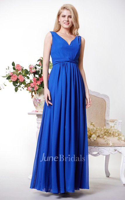 Empire V-neck V-back Pleated A-line Chiffon Gown With Waist Knot