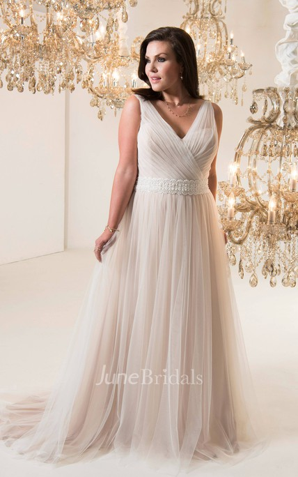 408b7378de A-Line Long V-Neck Sleeveless Tulle Brush Train Corset Back Waist Jewellery  Dress - June Bridals