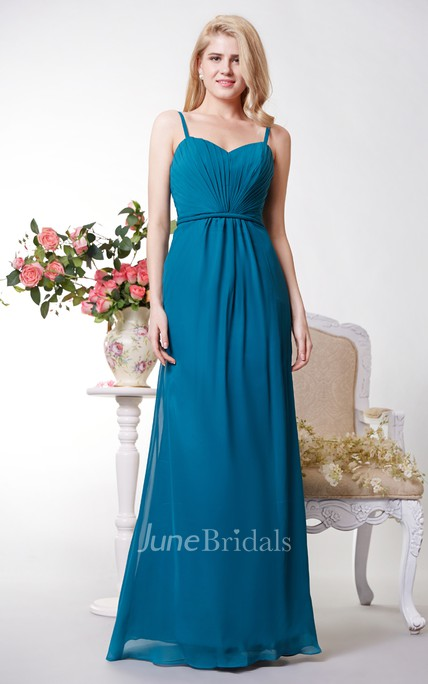 Sexy A-line Chiffon Gown With Spaghetti Straps and Open Back