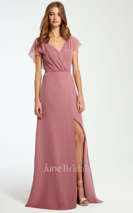 V-Neck Ruched Sleeveless Chiffon Bridesmaid Dress With Split Front
