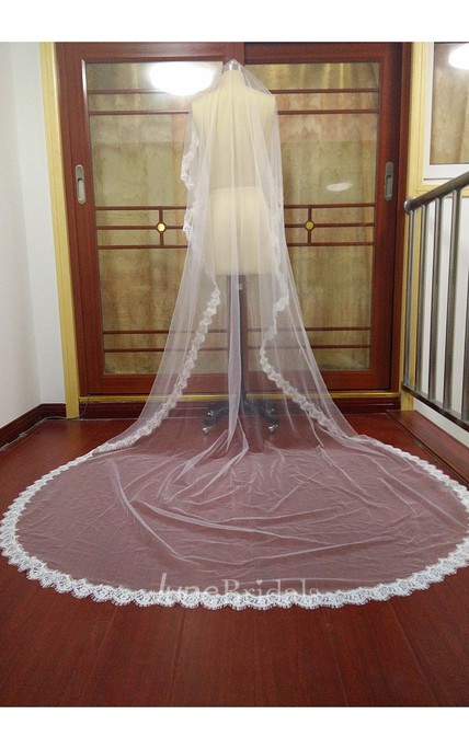 High-end Western Style Lace Applique Super Long Veil