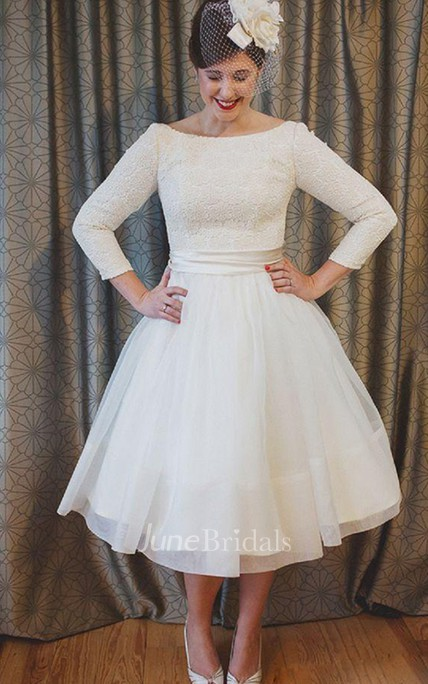 Plus Size Tea Length Lace And Organza Wedding Dresses With 3 4 Long