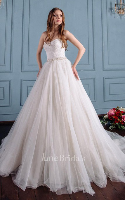 920d6025ee Satin Lace Lace-Up Corset Back Wedding Dress - June Bridals