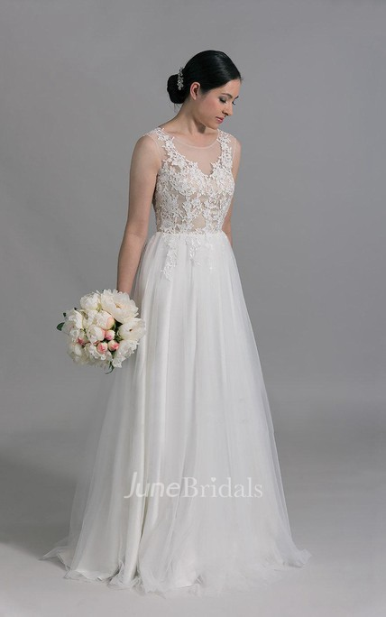 Scoop Neck Sleeveless A-Line Tulle Wedding Dress With Venice Lace ...
