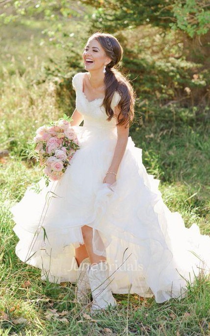 74383b3e461 Cowboy Boots V-neck Ruffles Tiered Skirt A-line Lace Organza Wedding Dress  with Cap Sleeves - June Bridals