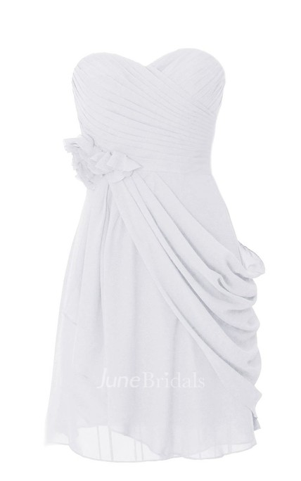 Sweetheart Asymmetrical Ruched Short Layered Chiffon Dress