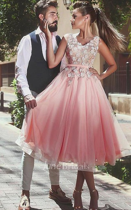 31a5e6f29cc5 A-line V-neck Sleeveless Appliques Flower Pleats Tea-length Lace Tulle  Homecoming Dress - June Bridals