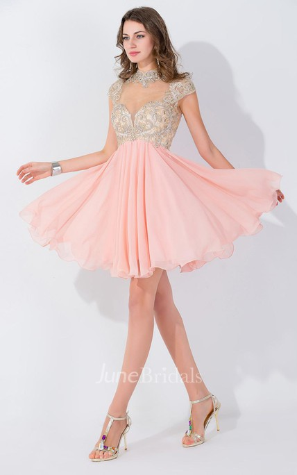 Modern High Neck Cap Sleeve Chiffon Homecoming Dress With Appliques Beadings