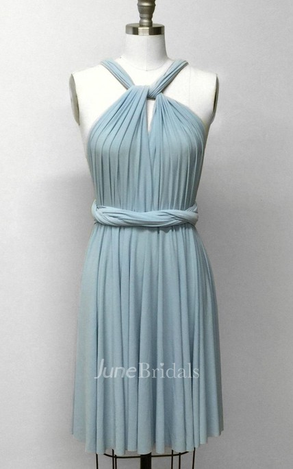 0108091380f Baby Blue Short Infinity Convertible Formal Multiway Wrap Bridesmaid Party  Cocktail Evening Wedding Bridal Dress - June Bridals