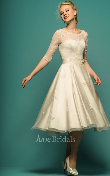 A-Line Tea-Length Illusion Sleeve Scoop Neck Appliqued Tulle Wedding Dress