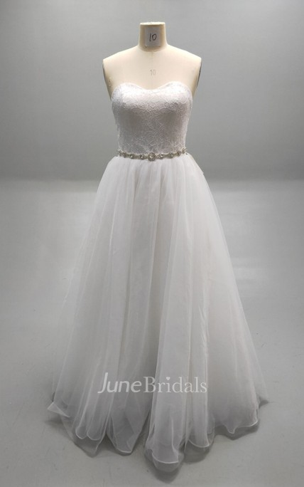 Sweetheart Pleated Tulle Ball Gown With Beaded Waistline and Lace Bodice