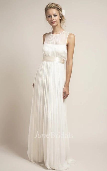 Ethereal Tulle Keyhole Pleated Bridal Gown with Sash
