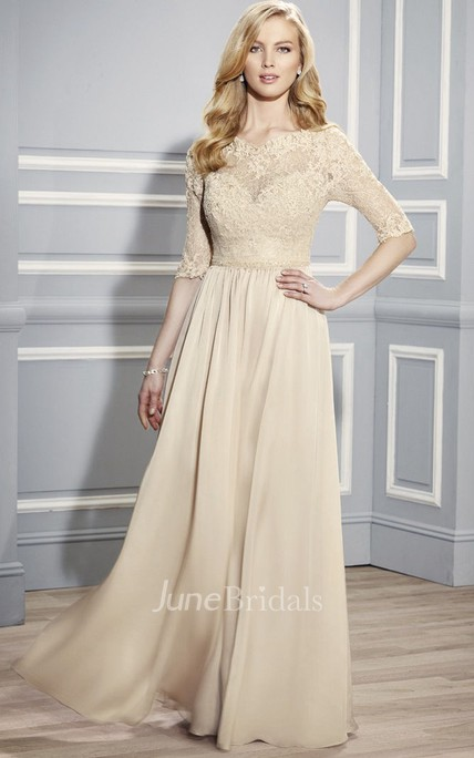 Half Sleeve Bateau Neck Appliqued Jersey Formal Dress With Illusion Back