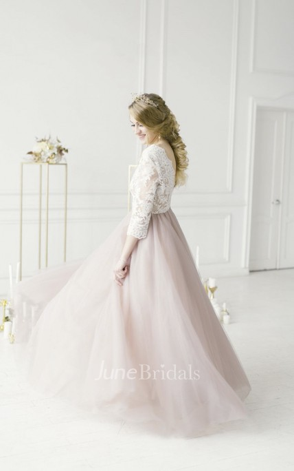 Lace V-neck 3/4 Sleeve Adorable Tulle Wedding Dress