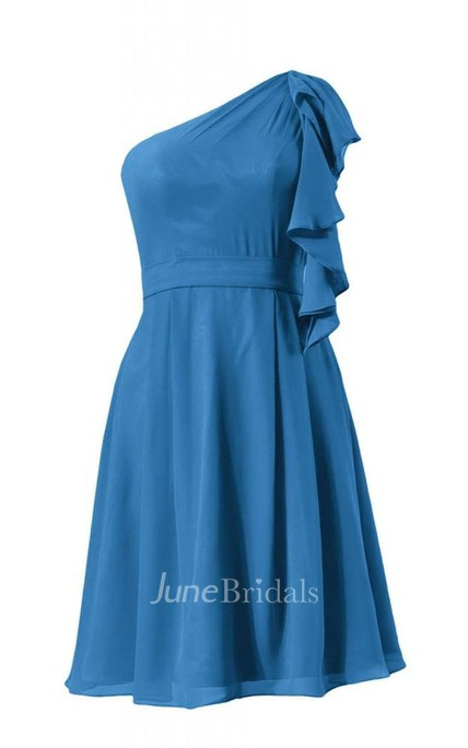 One-shoulder Drapped Sleeve Knee-length Pleated Chiffon Dress