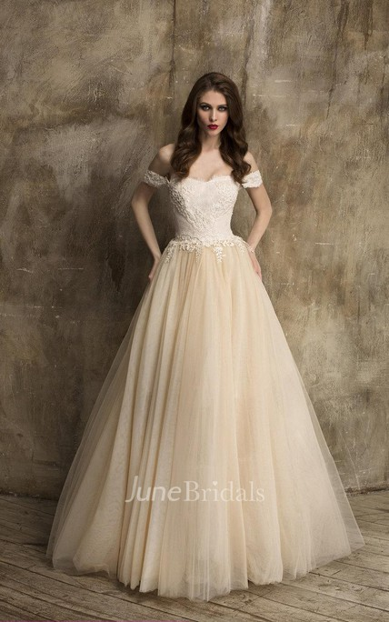 Unique Off Shoulder A Line Tulle Wedding Dress With Lace