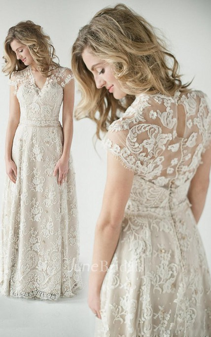 A-Line Short V-Neck Bell Cap Draping Appliques Button Lace Dress