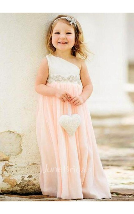 Delicate One Shoulder Chiffon Flower Girl Dress 2018 Pearls
