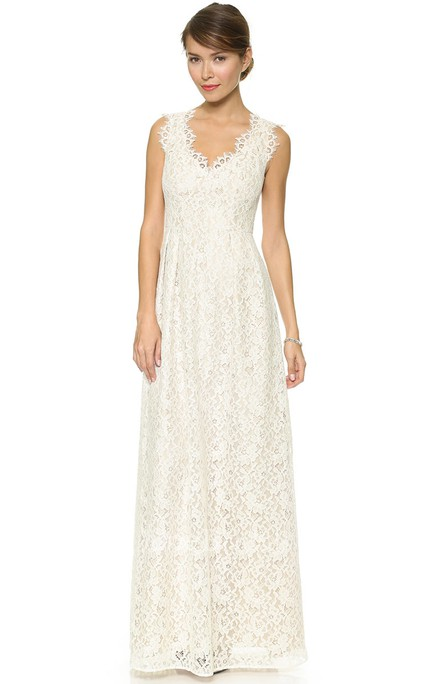 Low-V Neckline Sheath Lace Floor-length Dress With Side Draping