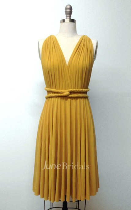 b75c91516a9 Mustard Yellow Short Infinity Convertible Formal Multiway Wrap Bridesmaid  Toga Cocktail Evening Wedding Dress - June Bridals