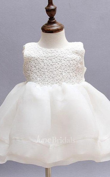 A-line Sleeveless Jewel Neck Lace Baby Girl Dress
