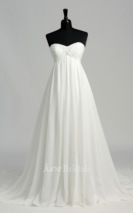 Floor-length Court Train A-line Sweetheart Sleeveless Zipper Chiffon Weeding Dress