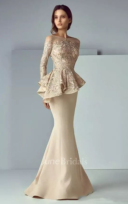 Mermaid Bateau T-shirt Long Sleeve Floor-length Satin Lace Mother of the Bride Dress with Ruffles