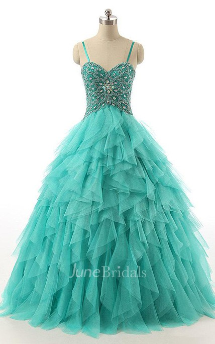 Ball Gown Sweetheart Tulle&Lace Dress With Beading&Corset Back