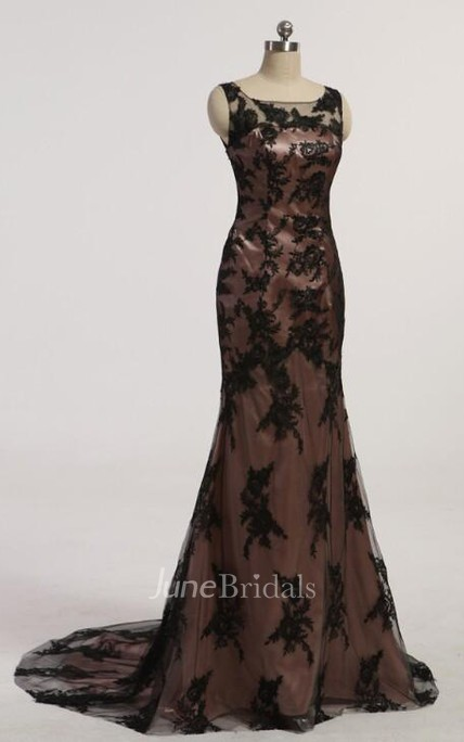 New Black Mermaid Prom Dress Scoop Sleeve Beaded Lace Evening Dresses With Beaded Crystal Applique