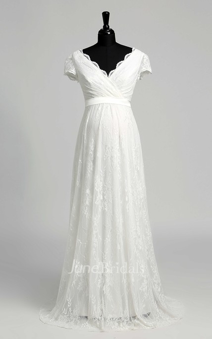 7bf7ae1c9b75a Elegant Scalloped V-neck Long Lace Maternity Wedding Dress - June Bridals
