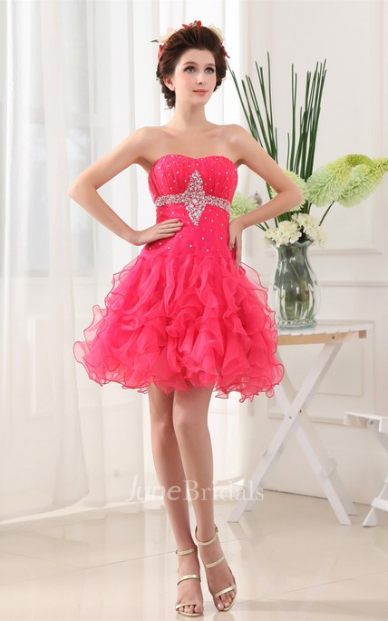 Strapless Mini-Length A-Line Gown with Crystal Detailing and Ruffles