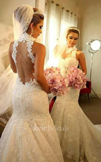 Newest High Neck Mermaid Wedding Dress 2018 Lace Appliques Court Train