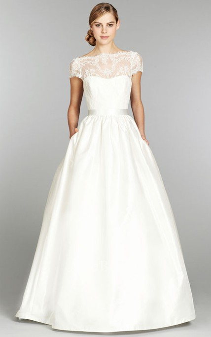 b426888c32c Stunning Cap Sleeve and Illusion Neckline Long Lace Gown - June Bridals
