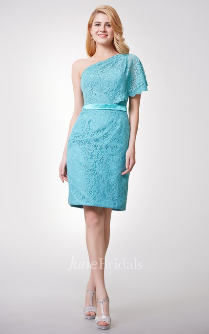 Fabulous One Shoulder Form Fitted Short Lace Dress With Side Draping