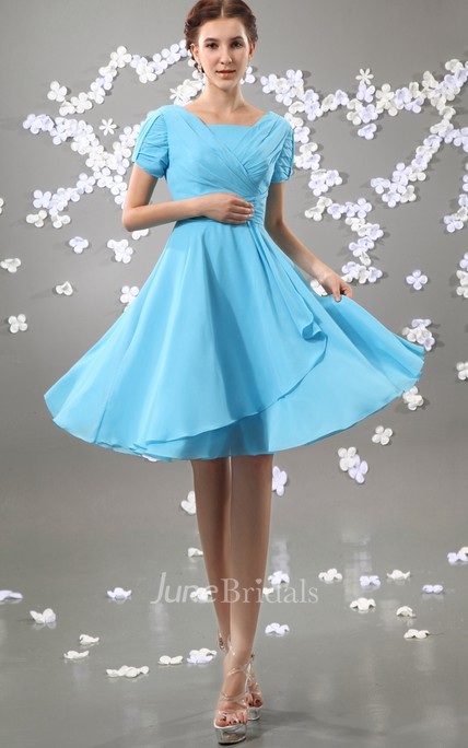 Chiffon Pleated Short Square-Neck Sleeve Dress With Ruching