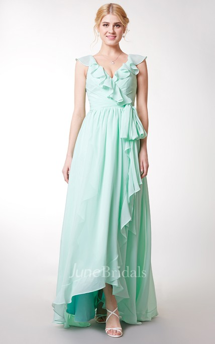 Cap-sleeved Asymmetric Ruffled Long Chiffon Dress With Sash