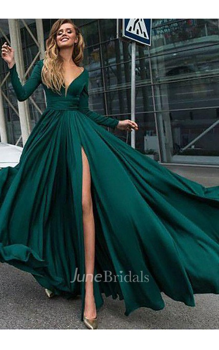 Princess V Neck Long Sleeves Sweep Brush Train Ruffles Satin Dress