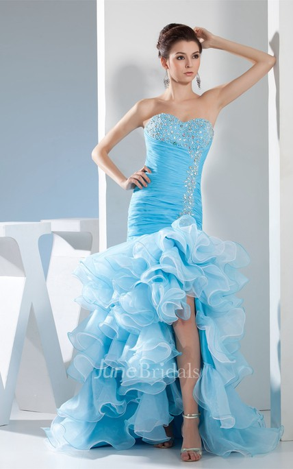 Sweetheart Mermaid Ruched Gown with Tiered Ruffle and Crystal Detailing