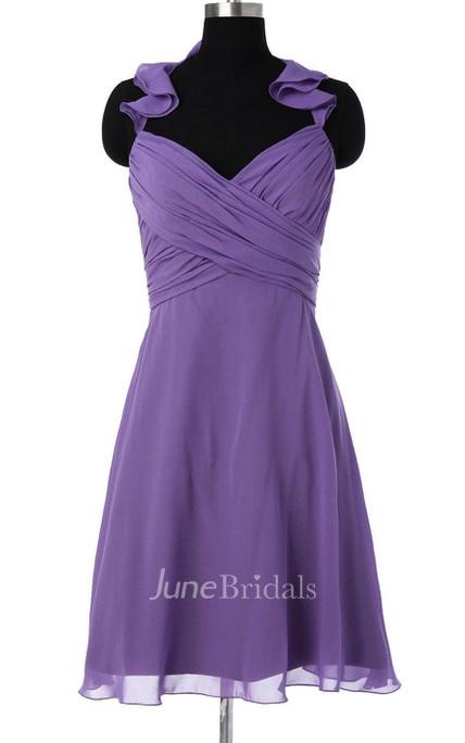Purple Bridesmaid Short Chiffon Convertible Prom Hanging
