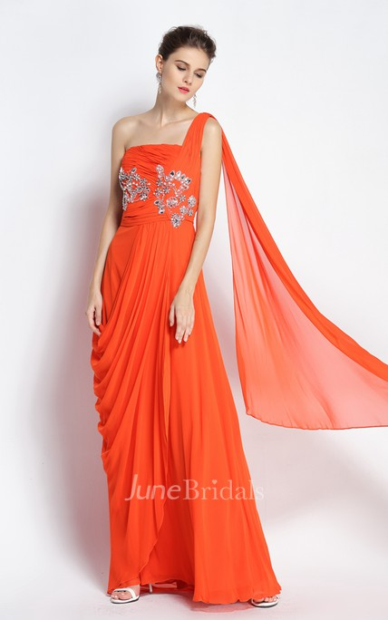 A-Line One-shoulder Sleeveless Floor-length Chiffon Prom Dress with Open Back and Beading