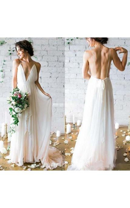 c7a8957fa2ef Simple Sexy Plunging V Neck Straps Spaghetti Sheath Chiffon Wedding Dress -  June Bridals